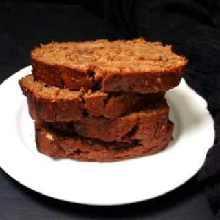 Front shot of stacked slices of banana bread