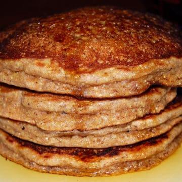 Stack of vegan four-grain pancakes