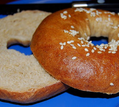 Cross-section of a vegan bagel