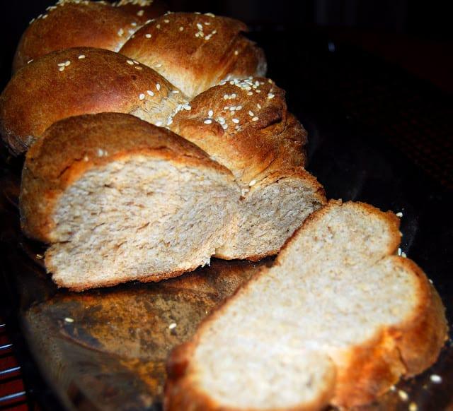 Sliced, braided vegan challah bread