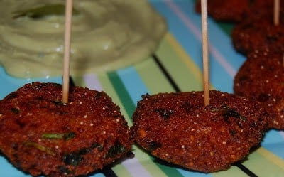 Masala vada in a plate with toothpicks