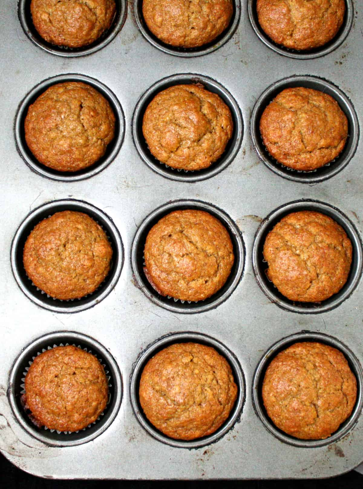 Vegan Banana Muffins in the muffin tin, fresh out of the oven.