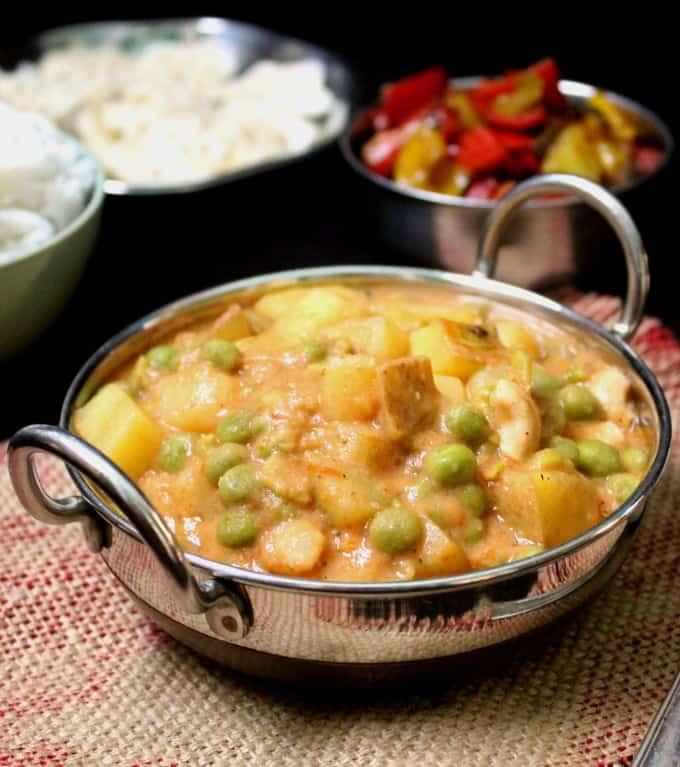 Front photo of creamy vegan peas potato curry.