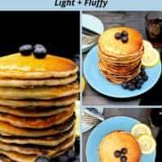 "Images of vegan lemon pancakes with text inlay that says ""vegan lemon pancakes, light and fluffy"""