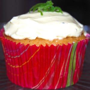 Vegan Lemon Cupcake in a red cupcake liner