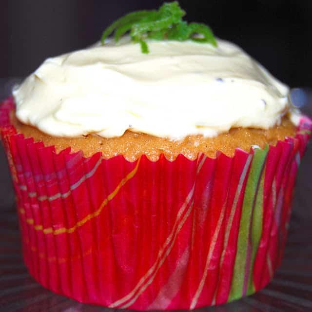 Vegan Lenon Cupcake in a red cupcake liner