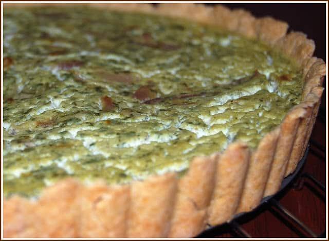 Photo of vegan cilantro quiche with tofu and a whole wheat crust.