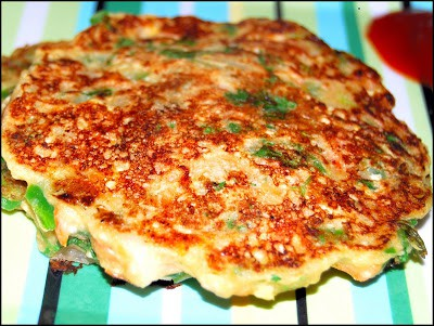 Savory vegan pancakes with green peppers and ginger on a colorful plate