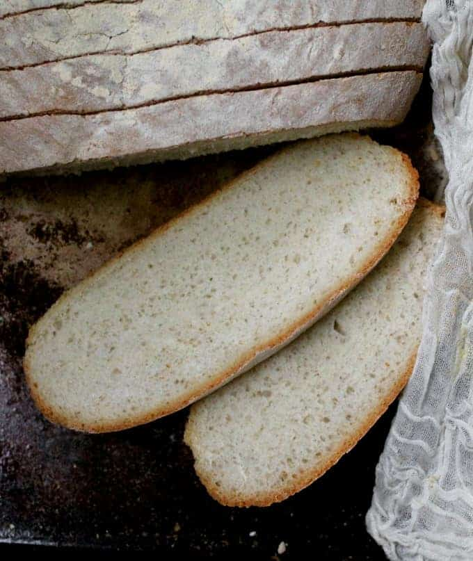 Close up of slices of tuscan bread or pane toscano