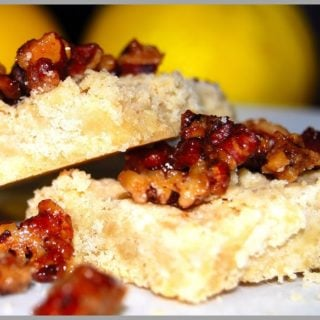 Lemon Shortbread with Candied Pecan Topping - holycowvegan.net