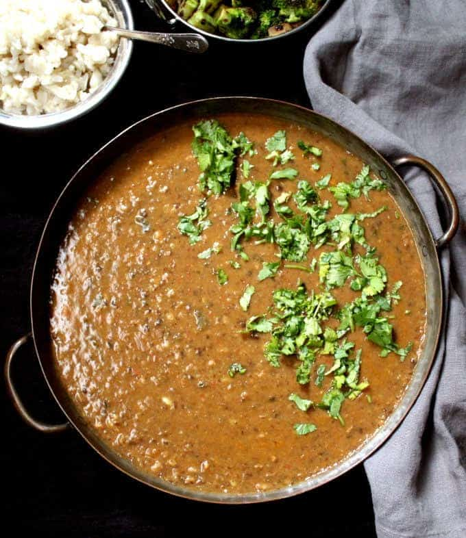 Spicy urad dal or black lentil dal, with creamy lentils and spiced with ginger, garlic and red pepper