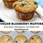 The best vegan blueberry muffins that are one-bowl, wholegrain and have no added oil.