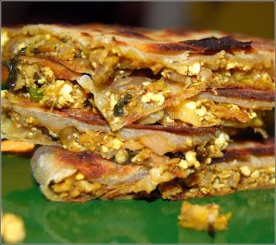 Vegan Murtabak, sliced, with stuffing showing