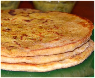A stack of Trinidadian rotis with lentil stuffing.