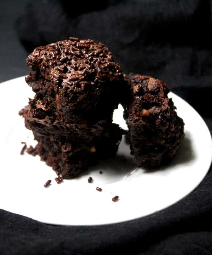 Vegan brownie recipe, no oil and whole wheat. These are outrageously delicious and kinda good for you. #vegan #soyfree #healthy #dessert HolyCowVegan.net