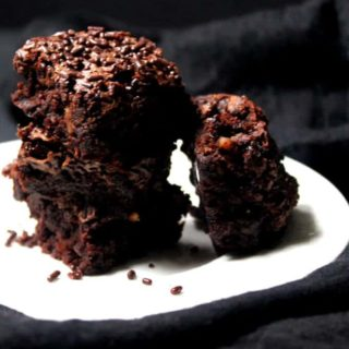 Vegan brownies, no oil and whole wheat. These are outrageously delicious and kinda good for you. #vegan #soyfree #healthy #dessert HolyCowVegan.net