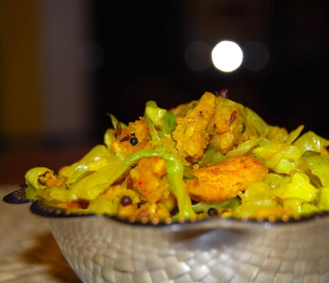 Photo of cabbage paruppu usili in a steel bowl.