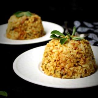 Brown rice pilaf with fenugreek leaves