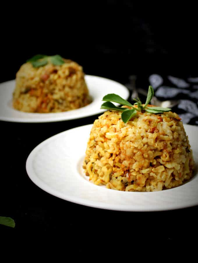 A delicious Brown Rice Pilaf with Fenugreek Leaves, Methiwara Chawar, a specialty of the Sindhi community of India. Soy-free, gluten-free, nut-free and vegan.