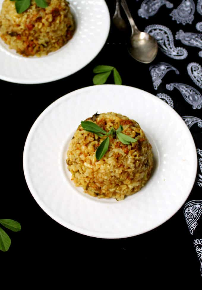 Overhead shot of Brown Rice Pilaf with Fenugreek Leaves, or Methi Wara Chawar | HolyCowVegan.net
