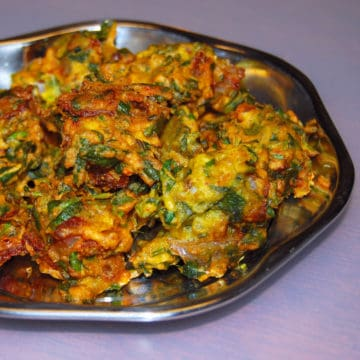 Methi Pakora on a steel plate