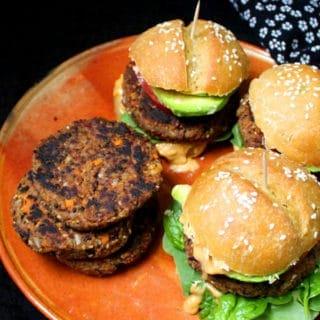 Spicy Black Bean Burgers, vegan and gluten-free