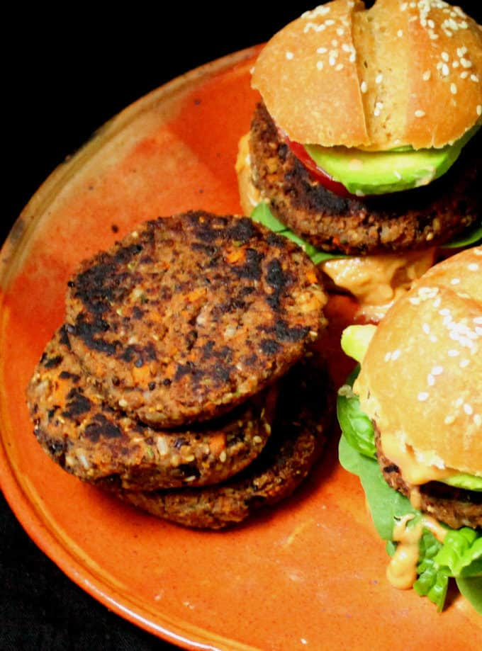 Spicy Black Bean Burgers, vegan and gluten-free