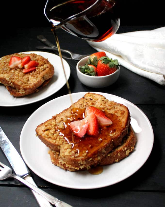 A delicious and easy recipe for a classic Vegan French Toast that you'll be making this again and again. Can be soy-free and nut-free. #vegan #recipe #breakfast #brunch #morning #today #christmas HolyCowVegan.net