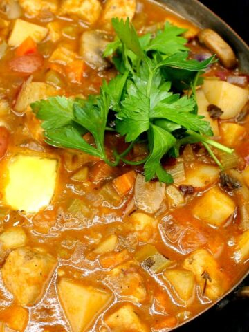 Closeup of vegan stew with tempeh cubes, onions, potatoes, celery, mushrooms and carrots.