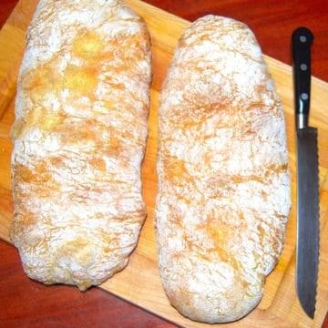 Italian ciabatta bread that looks like two slippers
