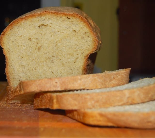Photo of sliced easy whole wheat bread.