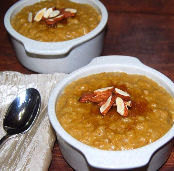 Pumpkin and Brown Rice Pudding, vegan and gluten-free recipe