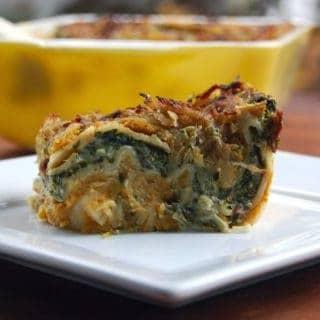 Vegan Pumpkin Spinach Lasagna - holycowvegan.net