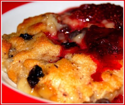 Warm bread pudding with strawberry compote