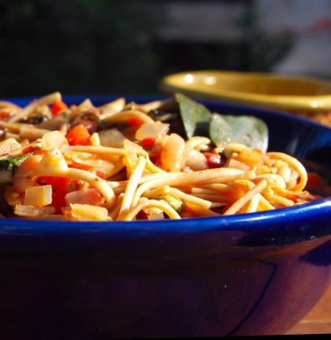 pasta with bean ragout, vegan recipe