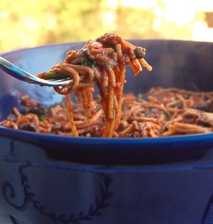 Gluten-free pasta puttanesca
