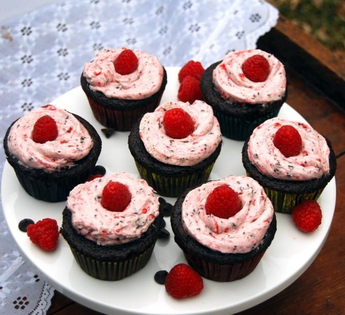 Vegan chocolate cupcakes with raspberry hearts