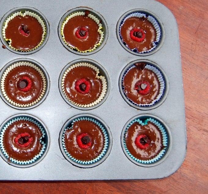 Vegan chocolate cupcakes with raspberry hearts