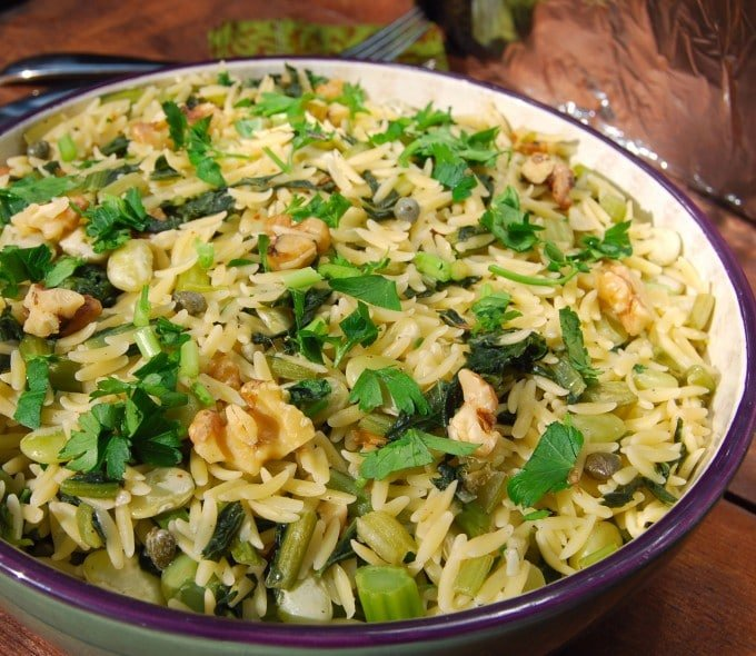 A bowl of pasta with Greens and Beans