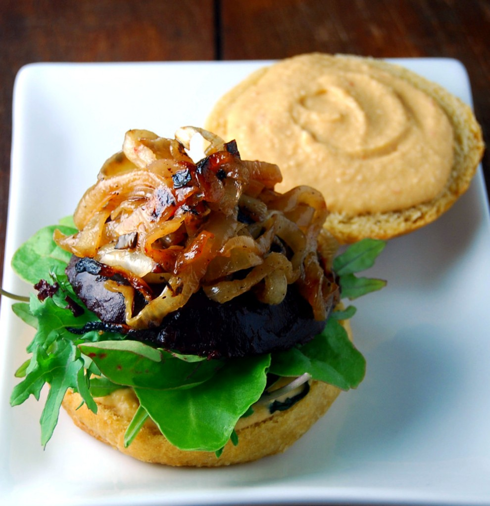 Vegan Beet Burger with Chipotle Cashew Hummus