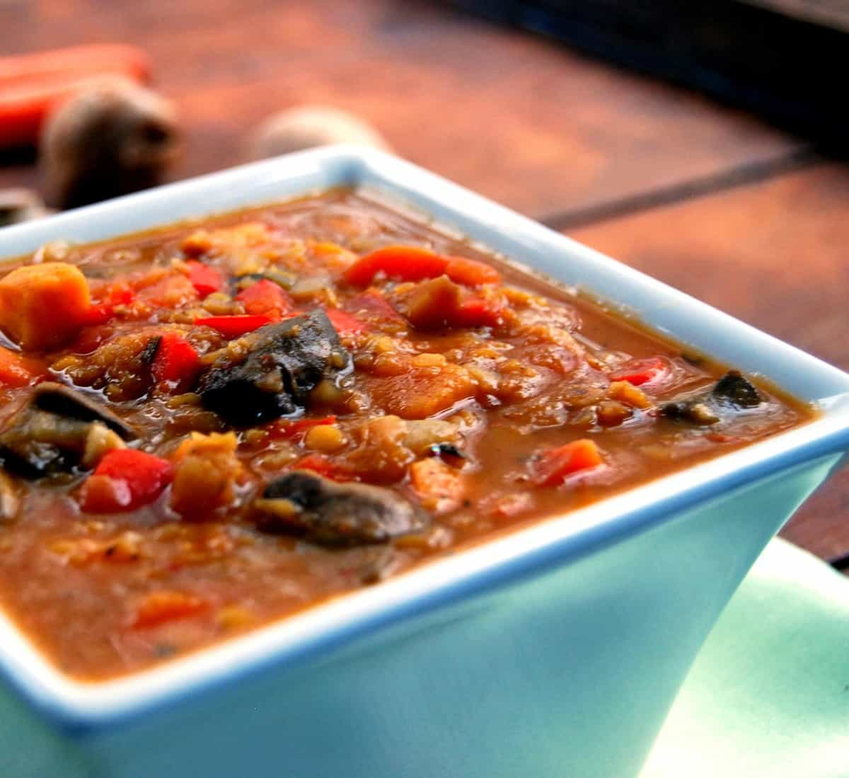 Closeup photo of Ethiopian Stew with lentils and veggies