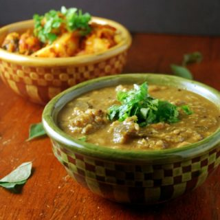 South Indian Eggplant Dal, or Brinjal Pulippu Kootu