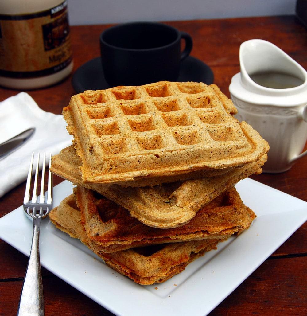 Stack of vegan chia waffles