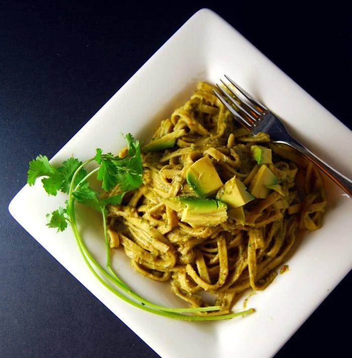 Pasta Avocado in white plate.