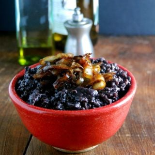 Black Rice Risotto with Mushrooms and Caramelized Onions