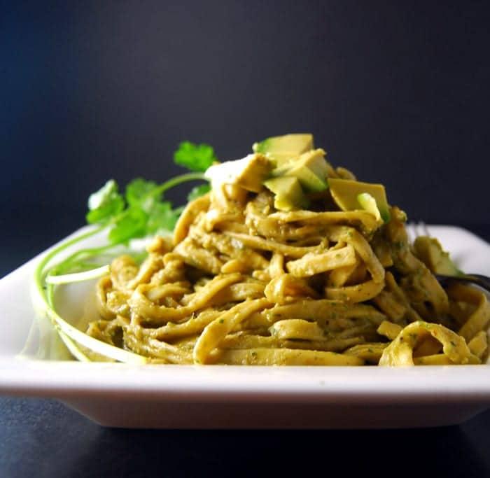 Pasta Avocado in square white plate.