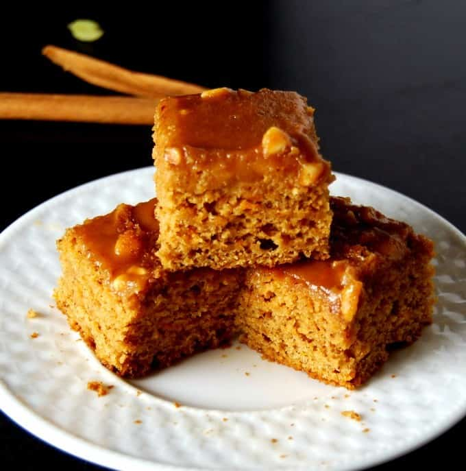Whole Wheat Sweet Potato Squares with Peanut Butter Glaze