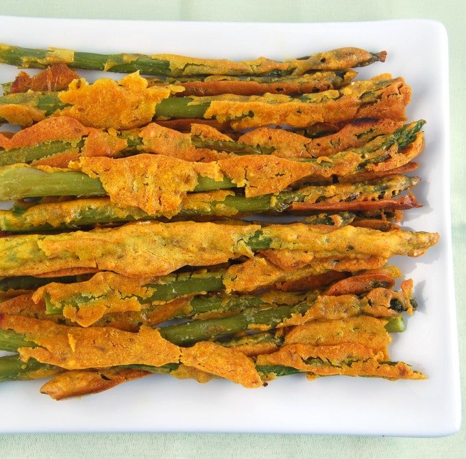 baked asparagus pakoras