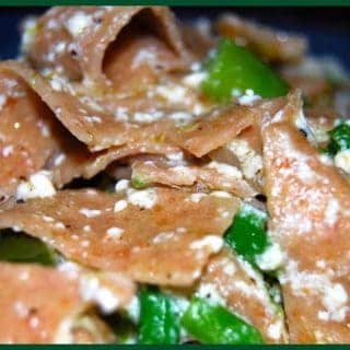 Pappardelle Pasta with Green Peppers and Asparagus Frittata