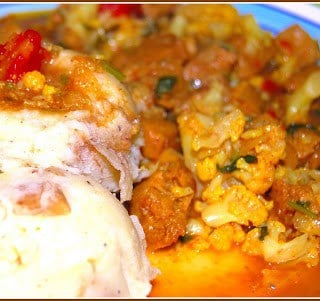 Lamb and Cauliflower Curry with Creamy Mashed Potatoes